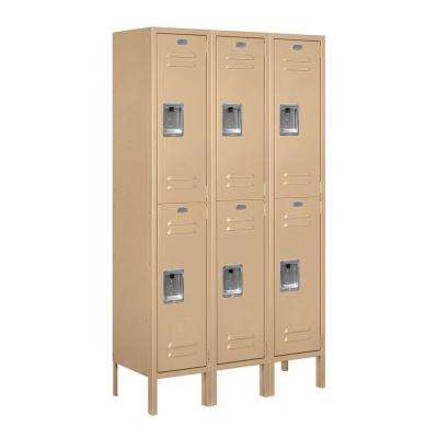 62000 Series 36 in. W x 66 in. H x 12 in. D 2-Tier Metal Locker Unassembled in Tan