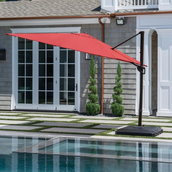 10 ft. x 10 ft. Commercial Aluminum Square Offset Cantilever Outdoor Patio Umbrella in Chili Red