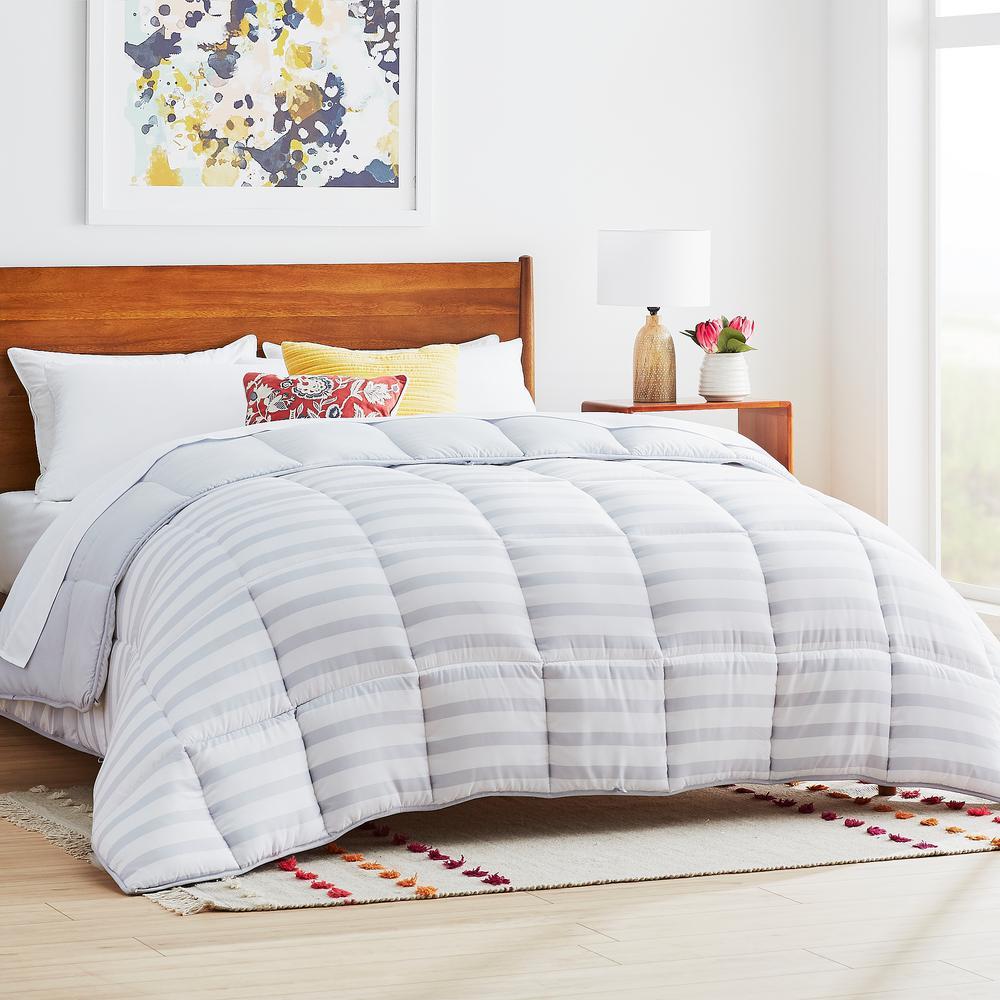 Linenspa Grey/White Stripe Oversized Queen Down Alternative Microfiber Comforter