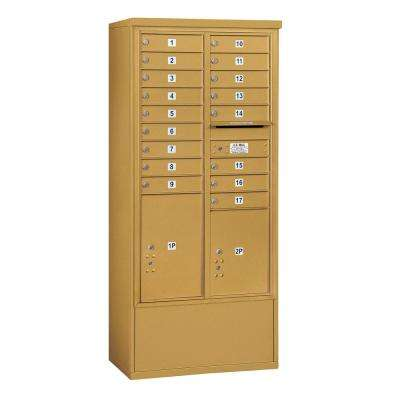 3900 Horizontal Series 17-Compartment 2-Parcel Locker Free Standing Mailbox