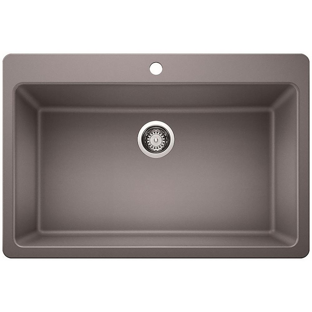 GlacierBay Glacier Bay Dual Mount Granite Composite 33 in. Single Bowl Kitchen Sink in Gray