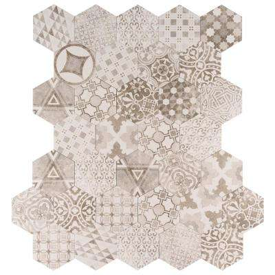 Patternia Hexagon Encaustic 7 in. x 8 in. Glazed Porcelain Floor and Wall Tile (10.85 sq. ft. / case)