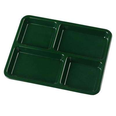 8.5 in. x 11.0 in. Omnidirectional Melamine 4-Compartment Cafeteria Style Tray in Forest Green (Case of 12)