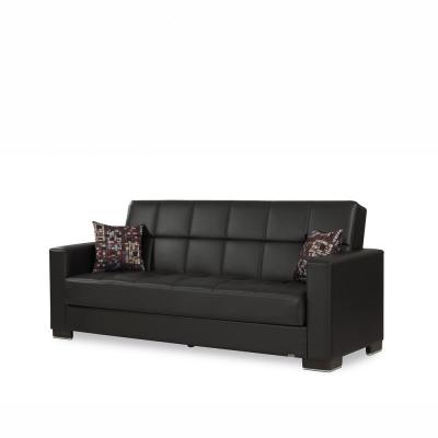 Armada Black Leatherette Upholstery Sofa Sleeper Bed with Storage
