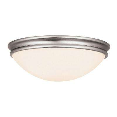 Atom 1-Light Brushed Steel Flushmount with Opal Glass Shade