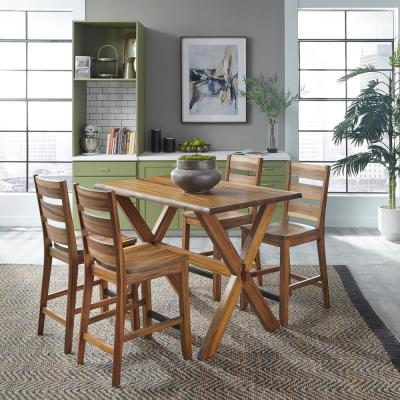 Forest Retreat Live Teak Wood Brown High Dining Set Table & 4 Stools