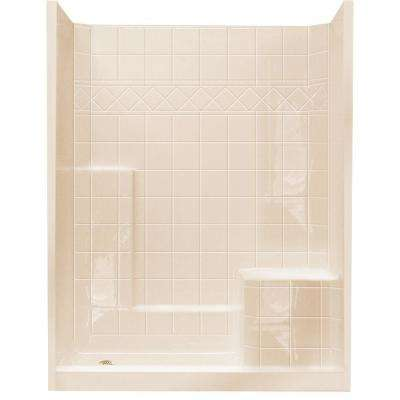 32 in. x 60 in. x 77 in. Standard Low Threshold 3-Piece Shower Kit in Bone with Right Seat and Left Drain
