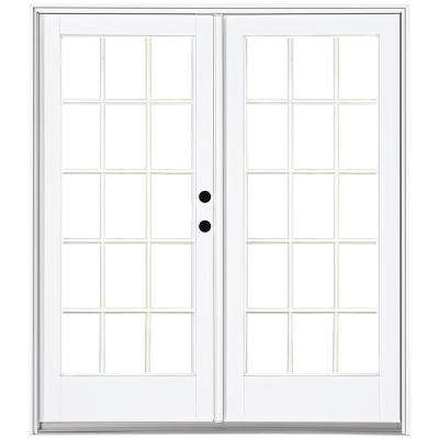 60 in. x 80 in. Fiberglass Smooth White Left-Hand Inswing Hinged Patio Door with 15-Lite SDL