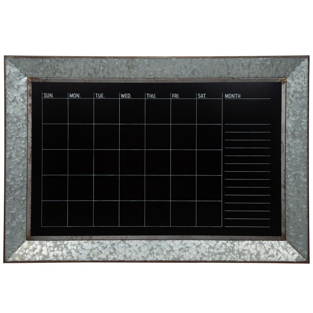 Rustic Galvanized Calendar Silver Chalkboard Memo Board