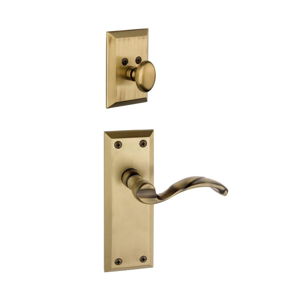Grandeur Fifth Avenue Single Cylinder Vintage Brass Combo Pack Keyed Differently with Portofino Lever and Matching Deadbolt