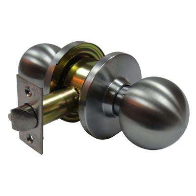 2-3/8 in. Cylindrical Ball Satin Chrome Passage Hall/Closet Door Knob with Latch