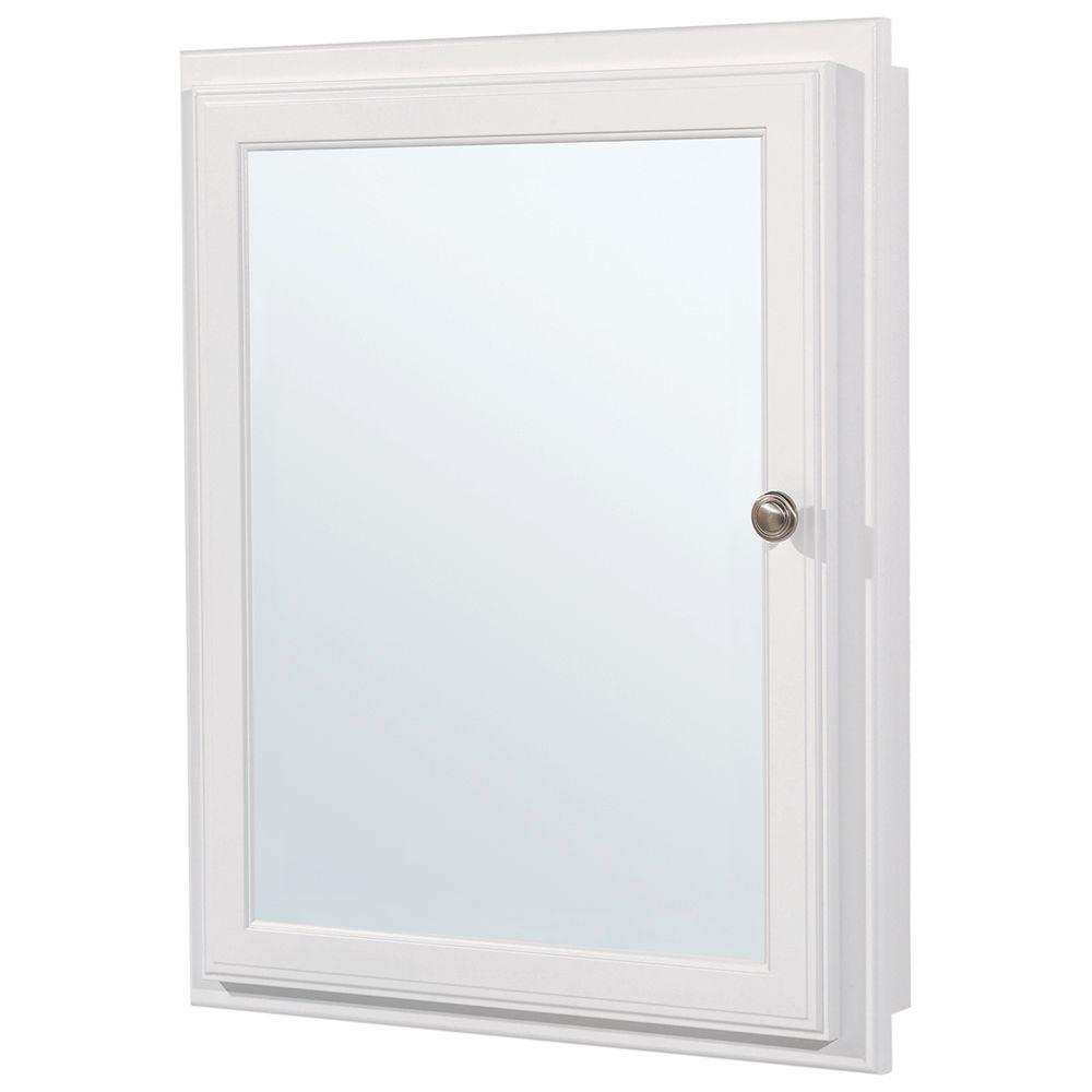 Glacier Bay 20 3/4 In. W X 25 3/4 In. H X 4 3/4 In. D Framed Recessed Or  Surface Mount Bathroom Medicine Cabinet In White S2126 WH R   The Home Depot