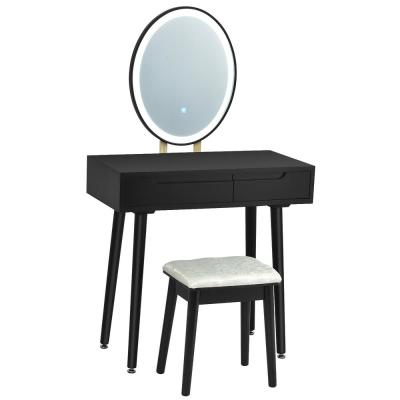 Black Touch Screen 3 Lighting Modes Vanity Makeup Table Set