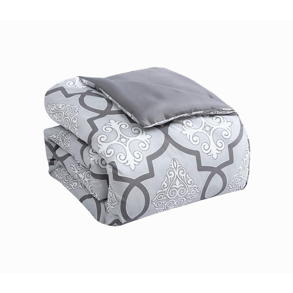 Lawton 6-Piece Gray Queen Size Comforter Set with Throw Pillows