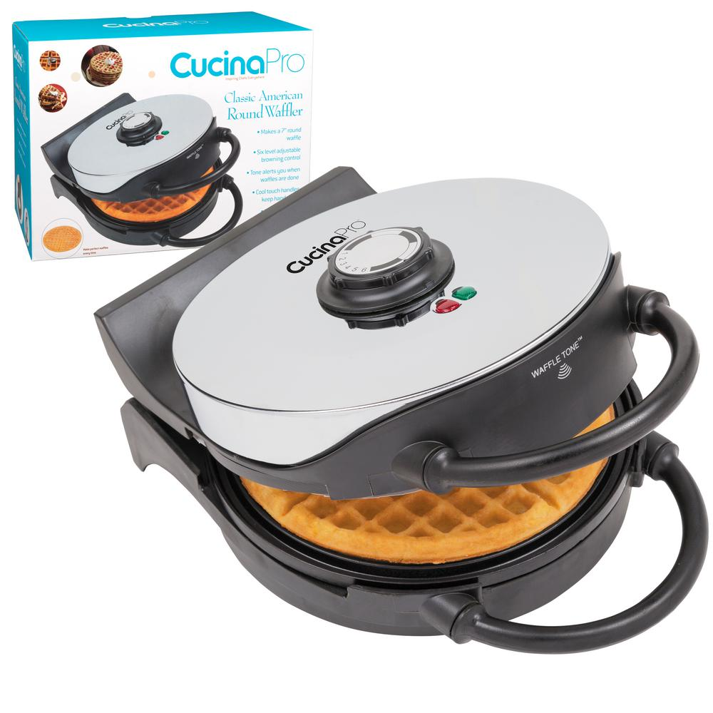 Cucinapro Classic Round American Waffle Maker In Stainless And Black