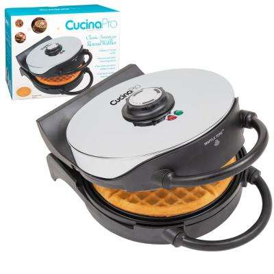 Classic Round American Waffle Maker in Stainless and Black