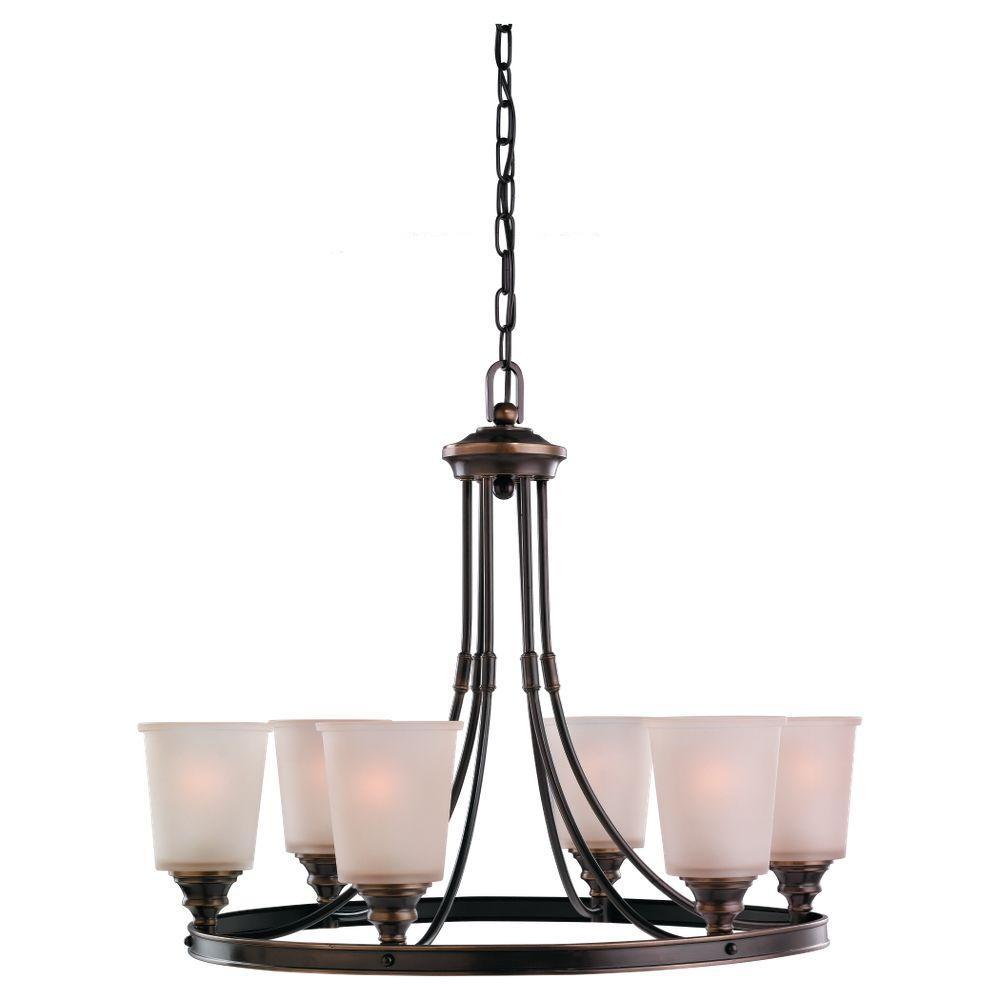 Sea Gull Lighting Warwick 6-Light Vintage Bronze Single Tier Chandelier-DISCONTINUED