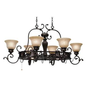 Florian Collection 8-Light Etruscan Bronze Pot Rack Chandelier by