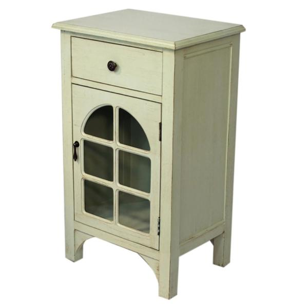 HomeRoots Shelly Assembled 18 in. x 18 in. x 13 in. Light Sage Wood Clear Glass Accent Storage Cabinet with a Drawer