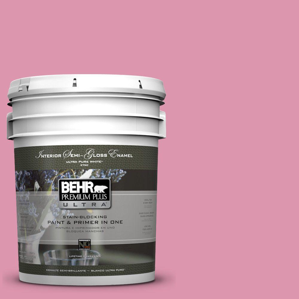 5-gal. #110B-4 Foxy Pink Semi-Gloss Enamel Interior Paint