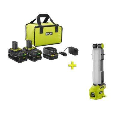 18-Volt ONE+ High Capacity 4.0 Ah Battery (2-Pack) Starter Kit with Charger and Bag with FREE ONE+ LED Workbench Light