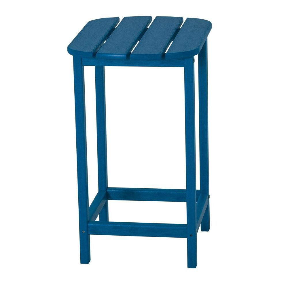 POLYWOOD South Beach 26 in. Pacific Blue Patio Counter Side Table