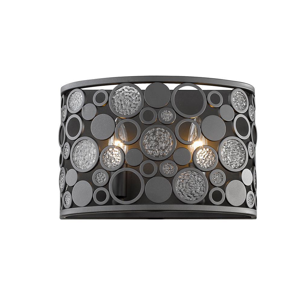 Joslyn 2-Light Bronze Wall Sconce with Bronze Steel Shade
