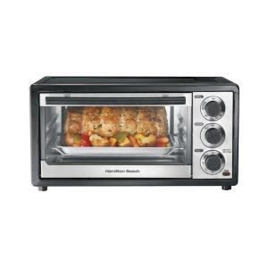 Hamilton Beach Chrome and Black Toaster Oven by Hamilton Beach