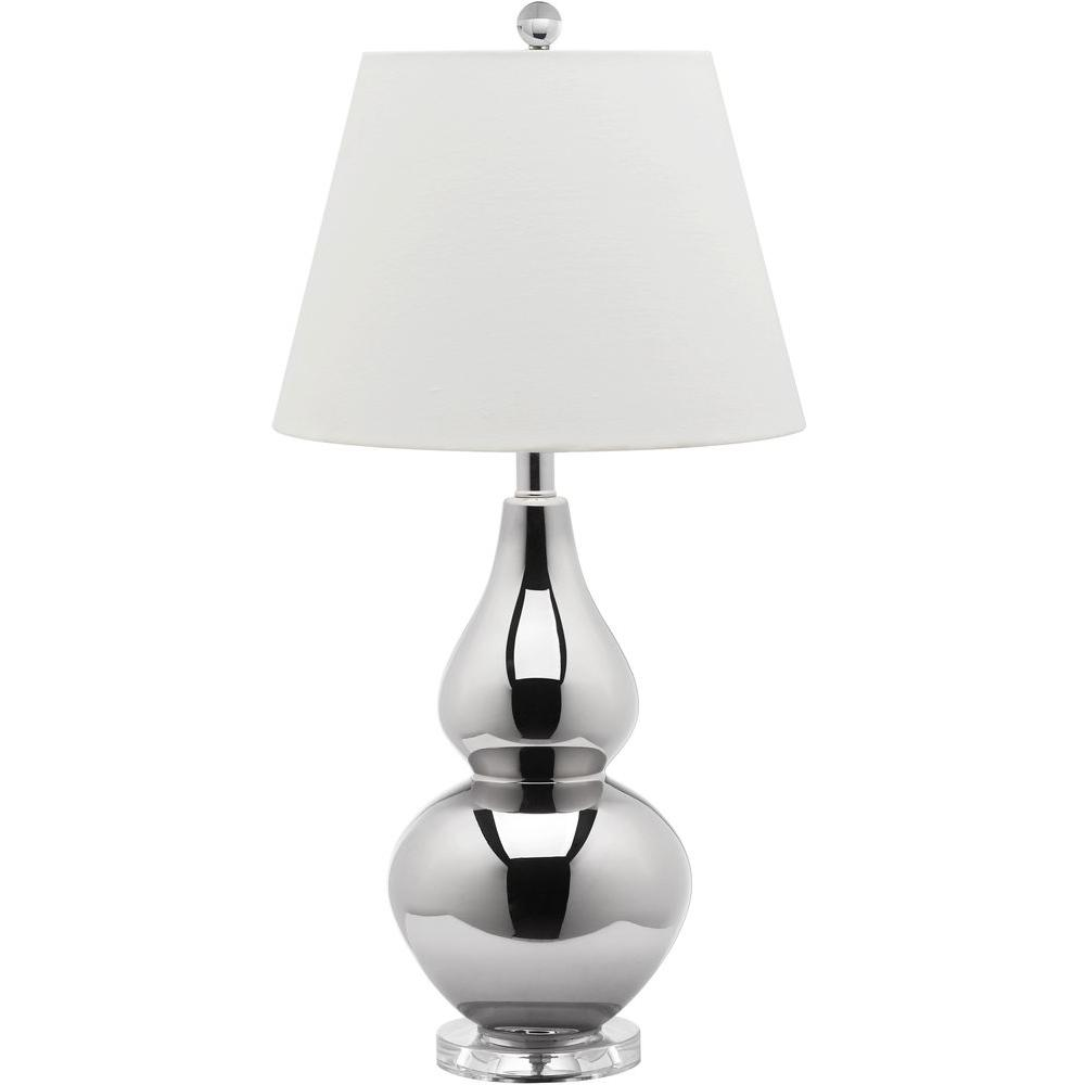 Safavieh Cybil 26 5 In Silver Double Gourd Table Lamp With White