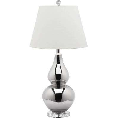 Cybil 26.5 in. Silver Double Gourd Table Lamp with White Shade
