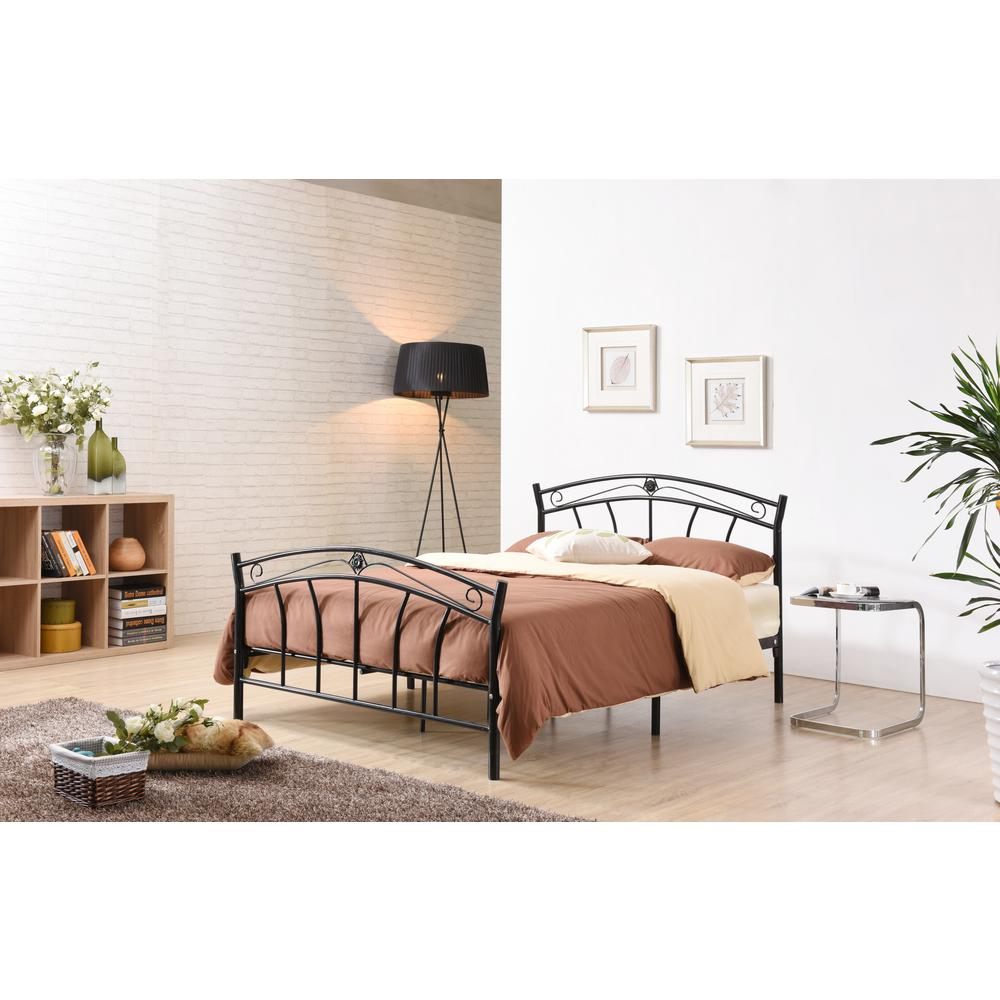 Black Full-Size Metal Panel Bed with Headboard and Footboard