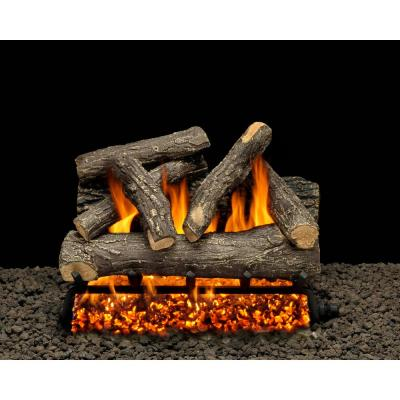 Dundee Oak 30 in. Vented Natural Gas Fireplace Log Set with Complete Kit, Match Lit