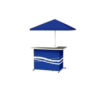 Classic Blue All-Weather L-Shaped Patio Bar with 6 ft. Umbrella