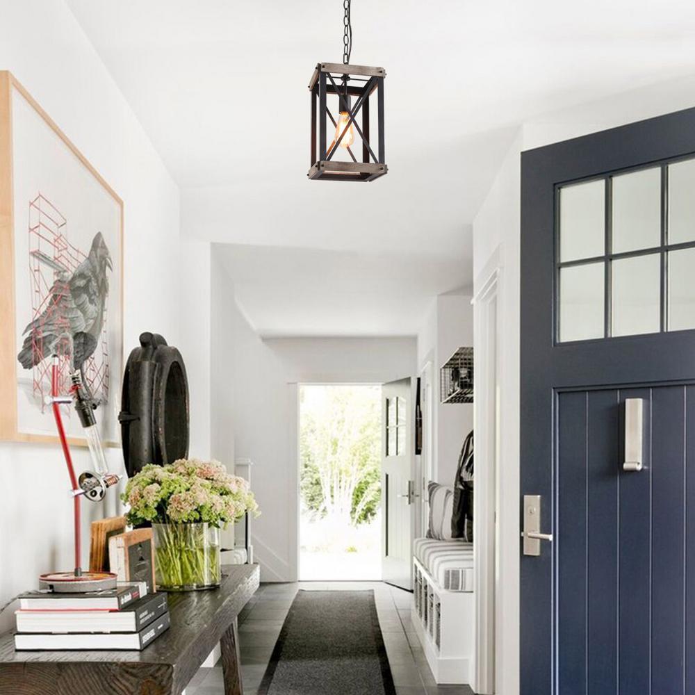1-Light Black Wood Lantern Foyer Pendant