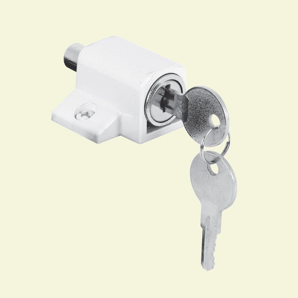 Prime Line White Push In Keyed Sliding Door Lock