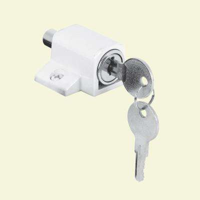 White, Push-In Keyed Sliding Door Lock