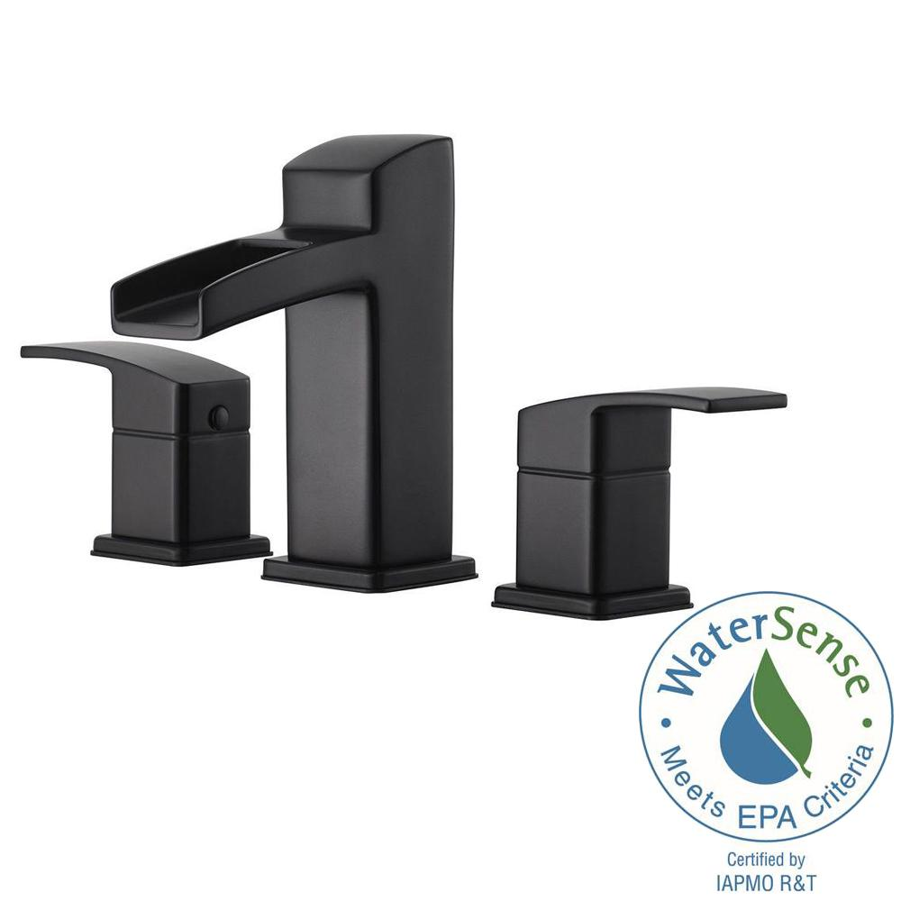 Pfister Kenzo 8 In Widespread 2 Handle Bathroom Faucet In Matte Black Lg49 Df0b The Home Depot