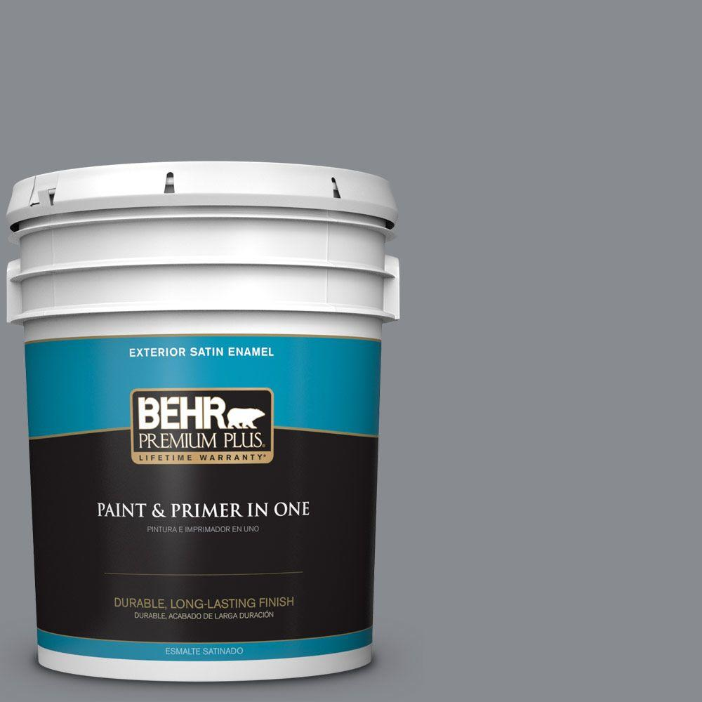 BEHR Premium Plus 5-gal. #PMD-73 Ancient Pewter Satin Enamel Exterior Paint