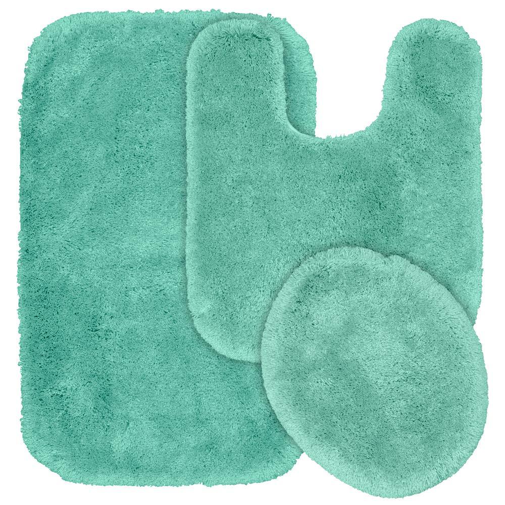 Sea Foam 3 Piece Washable Bathroom Rug