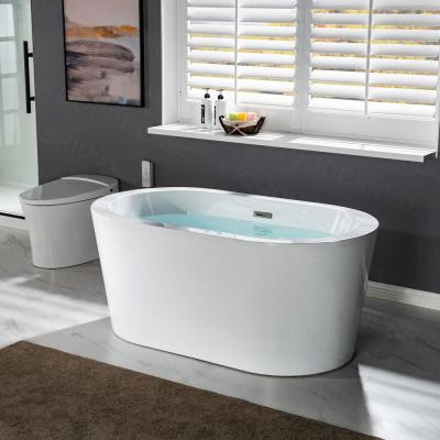 Bloomfield 56 in Acrylic Freestanding Double Ended Soaking Bathtub with Drain and Overflow Included in White