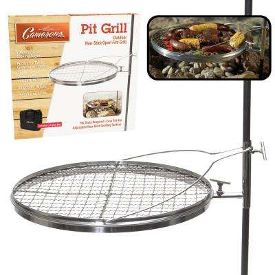 Open Fire Pit Grill - Portable Stainless Steel Charcoal or Wood Grill