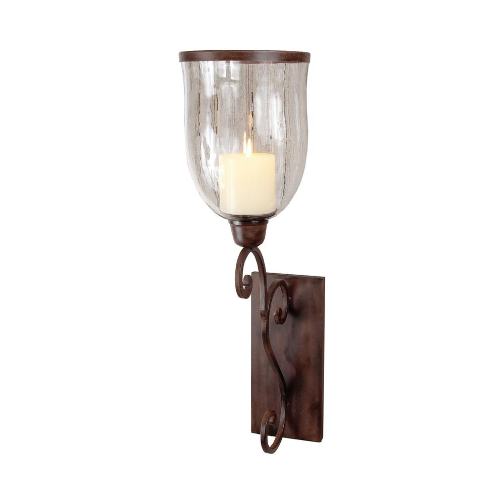 Montana 31 in. Montana rustic iron and Clear glass Wall S...