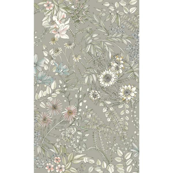 A-Street 8 in. x 10 in. Full Bloom Beige Floral Wallpaper