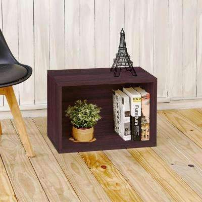 Eco Stackable zBoard 11.2 in. x 22.8 in. x 15.5 in. Tool-Free Assembly Rectangle Cubby Shelf Unit in Espresso Wood Grain