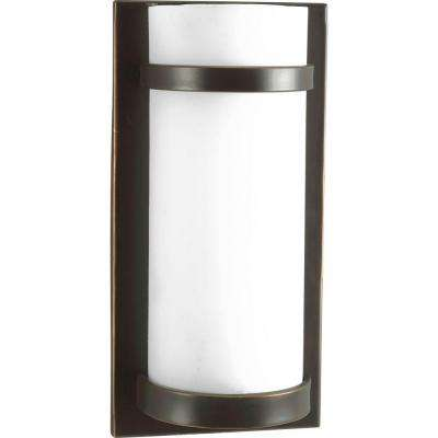 1-Light Antique Bronze Fluorescent Wall Sconce with Opal Etched Glass