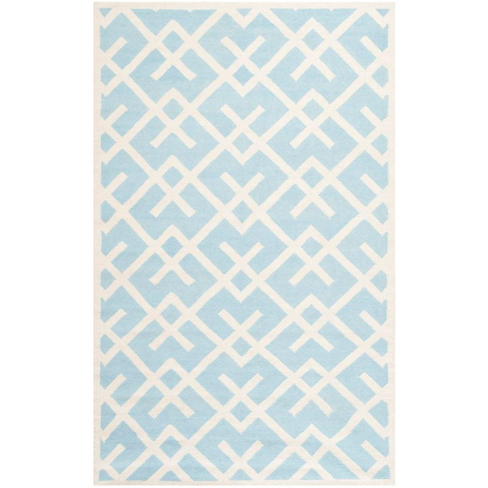 Dhurries Light Blue/Ivory 10 ft. x 14 ft. Area Rug