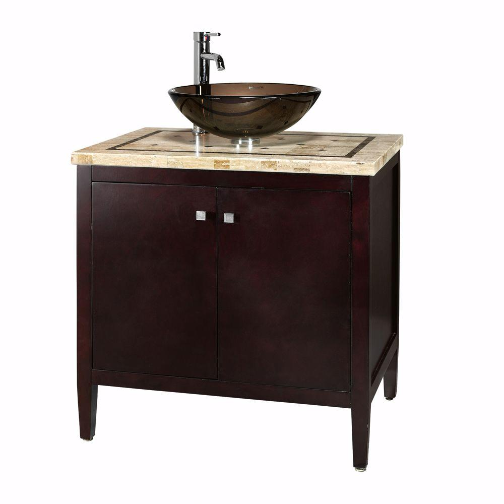 Home Decorators Collection Argonne 31 in. W x 22 in. D Bath Vanity in Espresso with Marble Vanity Top in Brown with Glass Basin