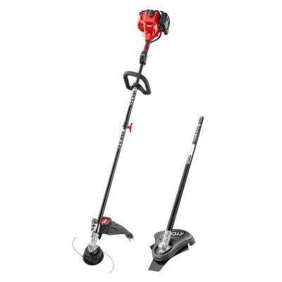 2-Cycle 25.4cc Attachment Capable Straight Shaft Gas String Trimmer with Brush Cutter Attachment