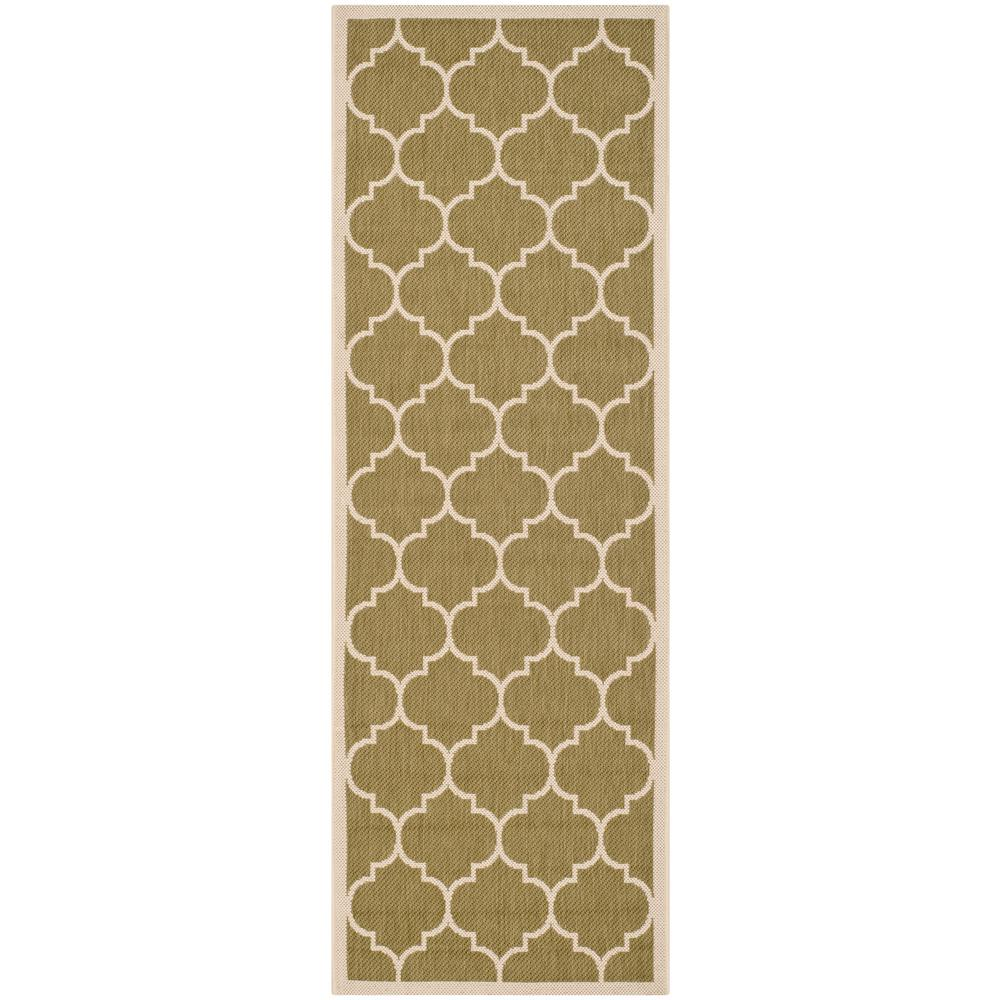 Safavieh Courtyard Green/Beige 2 ft. x 7 ft. Indoor/Outdoor Runner Rug