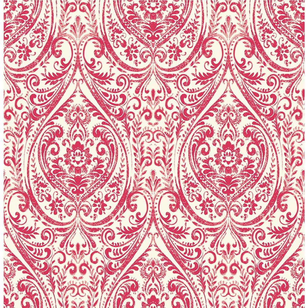 A Street Gypsy Red Damask Wallpaper Sample